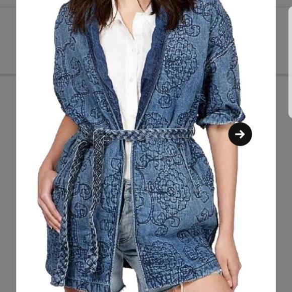 500007d16 Lucky Brand Jackets & Coats | Embroidered Denim Kimono Jacket | Poshmark